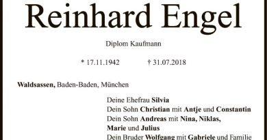 Ehrenmitglied Reinhard Engel verstorben