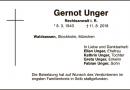 Schützenbruder Gernot Unger verstorben